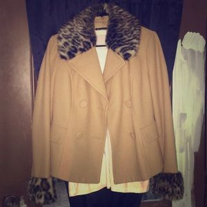 INC double breasted leopard coat